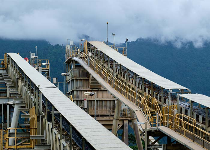 Ore carried on conveyors headed for the processing plant at the Ban Houayxai Operation