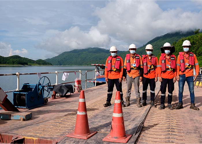 Team at the Phu Bia Mining Logistics speedboat transfer site