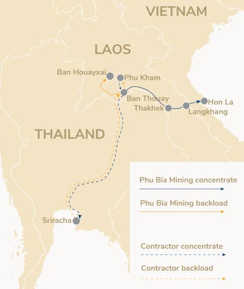 Phu Bia Mining Logistics haulage route