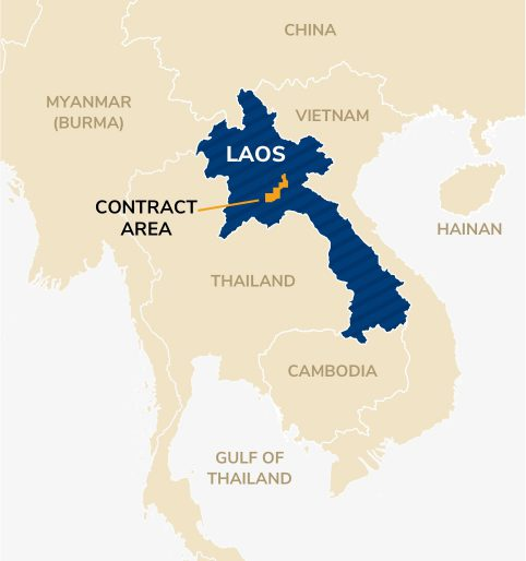 Map showing the Laos contract area